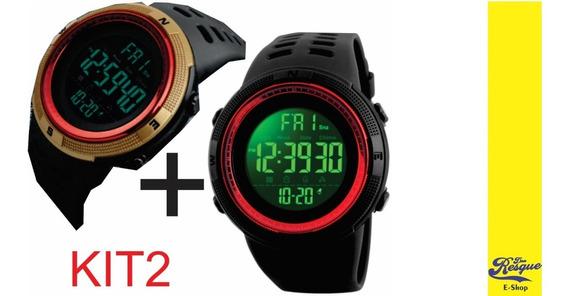 Relógios Skmei 1251 Gold/brown + Black Red Promoção Kit2