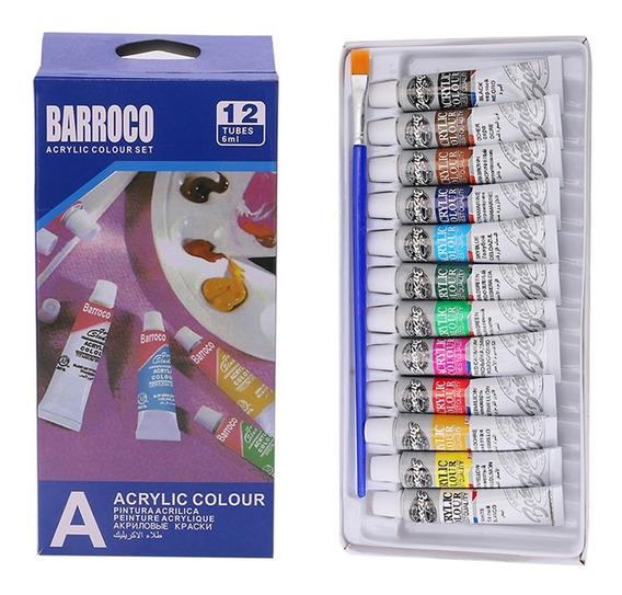 12 Cores Acrílico Mão Pintado Tintas Parede Pintura Brilhant