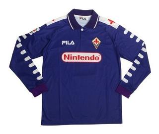 Camisa Fiorentina 1998-1999 Batistuta 9 (leia Toda A Descrição Antes) Camisa Importada Manga Longa Ou Curta
