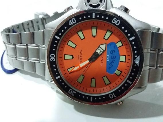 Relógio Atlantis Original Serie Prata Laranja Aço