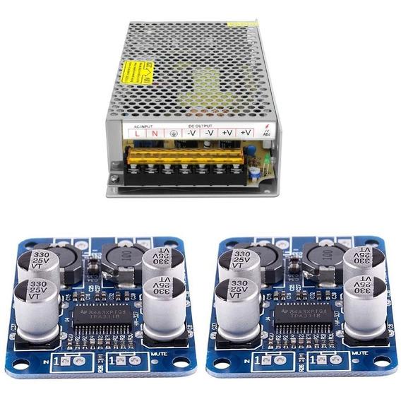 2 Amplificadores 60w Tpa3118 24v + Fonte Chaveada 24v 5a