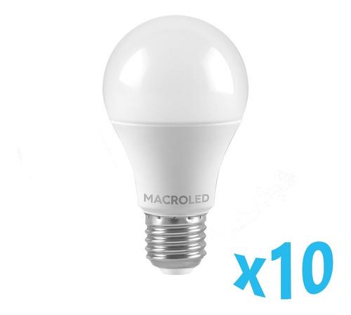 Imagen 1 de 5 de Pack X10 Macroled Lampara Led Bulbo A60 10w Bco Frío E27