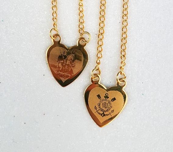 Escapulario Coração Corinthians São Jorge Banhado A Ouro 18k
