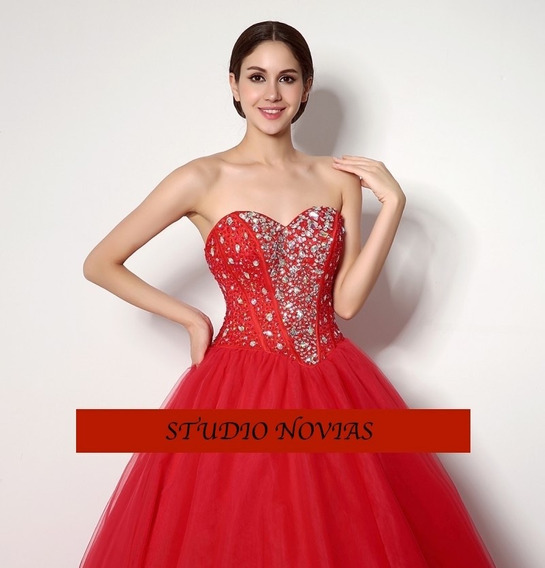 Vestidos Xv Años Quinceaños 15 Años Rojo Promo 2019 2020 Wa