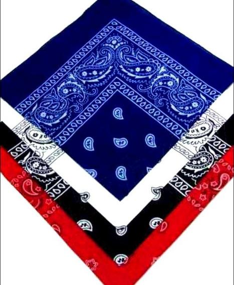 Kit 4 Bandanas 55x55 Preta/branca/azul/vermelha 100% Algodão