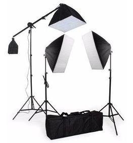 Kit Iluminação Estudio Eros 3 Softbox 2tripés 1girafa 110v