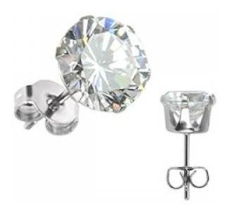 Broqueles Plateado Con Zirconia Clara De 8mm Diamante Eg