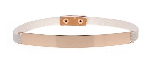 Cinturon Fino Metal Espejo Resorte Beige
