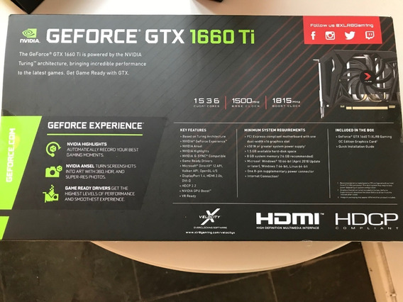 Nvidia 1660ti 6g Pny Xlr8 Gamining Oc