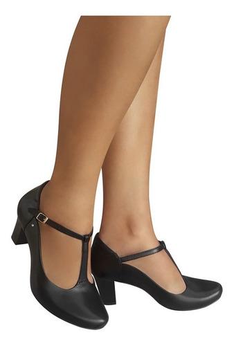 Sapato Dança De Salão Modelo Boneca Salto Grosso Duani