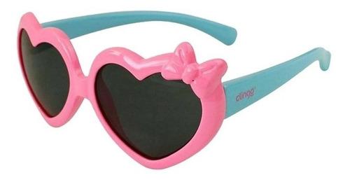 Óculos De Sol Infantil 36m+ Coração Rosa Azul Clingo C3214