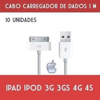 Kit C/ 10 Un Cabo Usb iPhone Dados iPad iPod 3g 3gs 4g 4s 1m