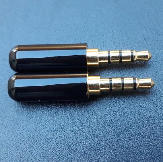 Plug P2 P3 3,5m 4 Polos/vias Fone Microfone Audio Video 2 Un