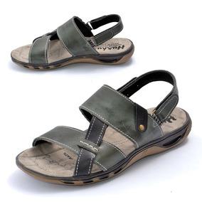 Sandalia Papete Chinelo Masculina Couro 9059-79/71 / Estoque
