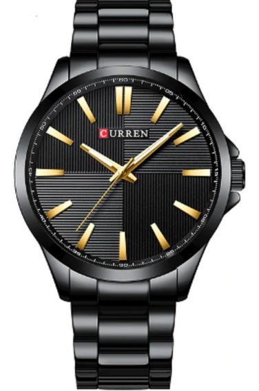 Relógio Quartzo Masculino Social Marca Curren Original Black