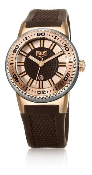 Relógio Pulso Everlast Feminino Aço Silicone Marrom E453
