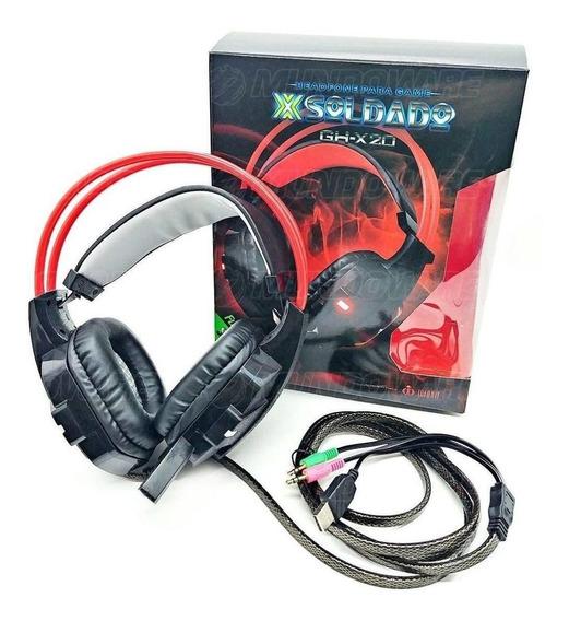 Fone Gamer Mic Acoplado Espuma Deluxe Estéreo Soldado Gh-x20