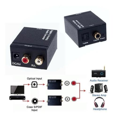 Convertidor De Audio Optico A Rca Analogico + Cable Optico