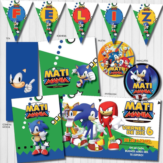 Kit Imprimible Candy Bar Personalizado Sonic