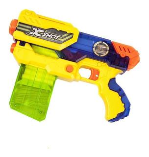 X Shot Pistola De Juguete Huracan Con 12 Dardos Recargable