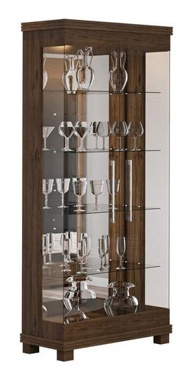 Cristaleira Mdf Moderna Vidro Espelhada Castanho Cristal