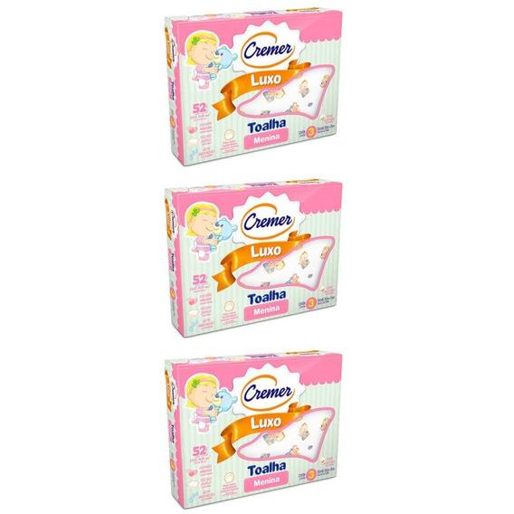 Cremer Luxo Toalha Infantil Estampada Menina C/3 (kit C/03)