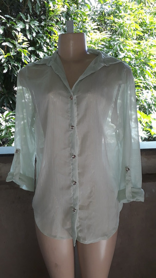Camisa Feminina Verde Transparente Fios Dourados P Cod 2657