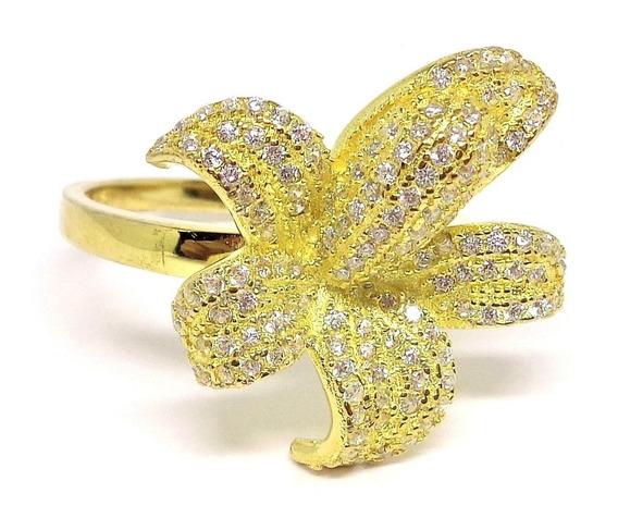 Anel Feminino Prata 925 Flor Orquídea Folheado Ouro Amarelo