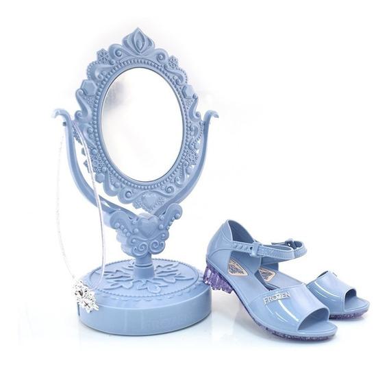 Sandália Infantil Feminina Frozen Azul Com Espelho Original