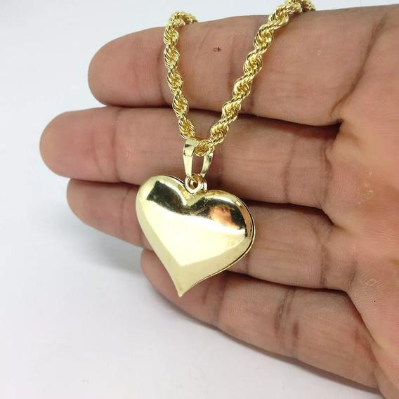 Pingente De Coração + Cordão Baiano Banhado Ouro 18k 50cm Fe