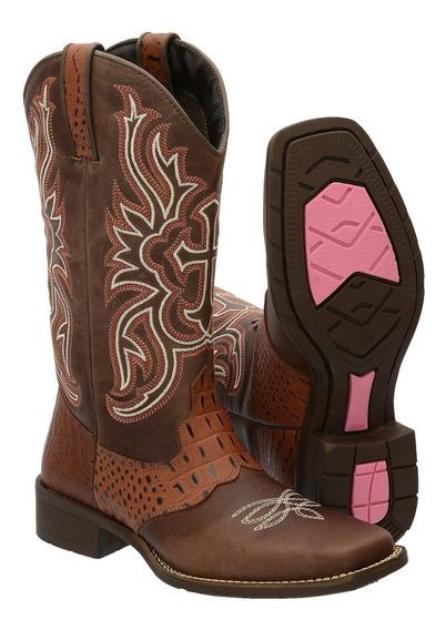 Bota Texana Feminina Bico Quadrado Cano Longo Country