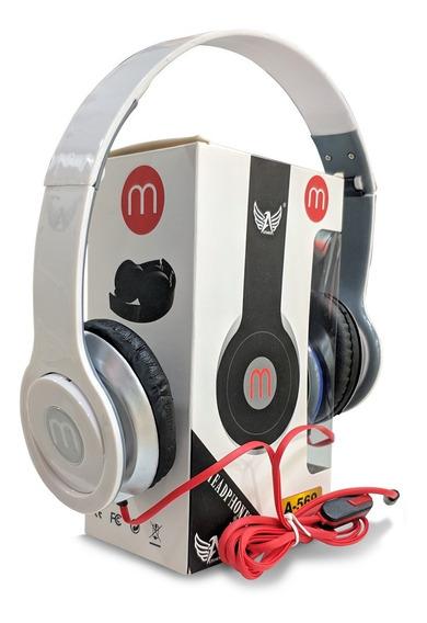 Fone Retrátil Modelo Beats De Fio E Microfone Na Cor Branca