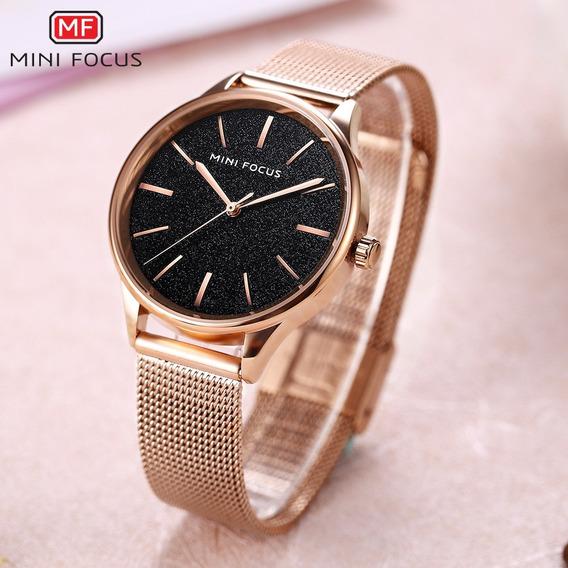 Relógio Quartzo Mini Focus Mf0044l Casual Ouro