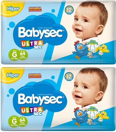 Imagem 1 de 7 de Kit 128 Fraldas G Ultrasec Babysec