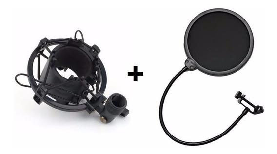 Kit Aranha Shock Mount Para Microfone + Tela Pop Filter