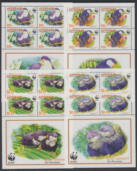 Wwf - Aitutaki 2002 - Aves, Papagaios - Série Completa