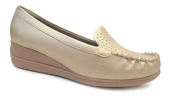 Sapato Conforto Anabela 117023 - Piccadilly (52) - Ouro