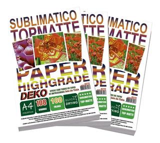 500 Folhas Papel A4 Tratado Resinado Sublimatico Top-matte