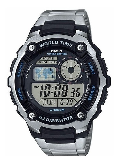 Relógio Casio Digital Masculino Ae2100wd Mapa Original Nf