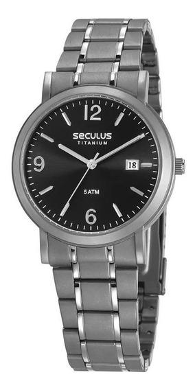Relógio Seculus Masculino Ref: 23637g0svnt2 Clássico Titânio