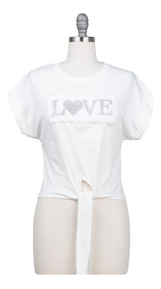 Blusa Casual Estrech, Con Lazo En Cintura Logo Love, Corta.