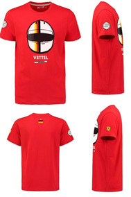 Playera Scuderia Ferrari Niño Casco Sebastian Vettel F1