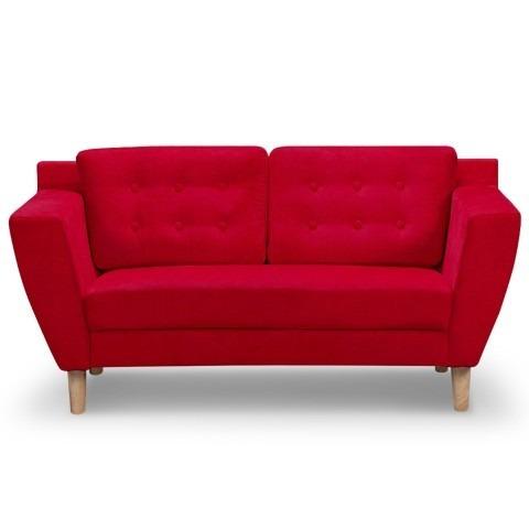 Malow Loveseat Estilo Nordico En Tela Color Rojo