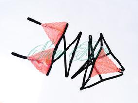 Coordinado Mujer Lencería Sexy Arnés Encaje + Lingerie Bag
