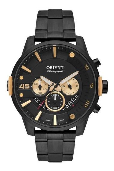 Relógio Masculino Preto Orient Todo Em Aço Cronógrafo Original +nf