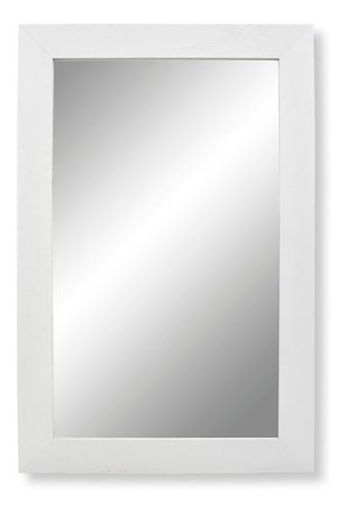 Espejo Baño Reflejar Home Blanco Marco Madera Rectangular