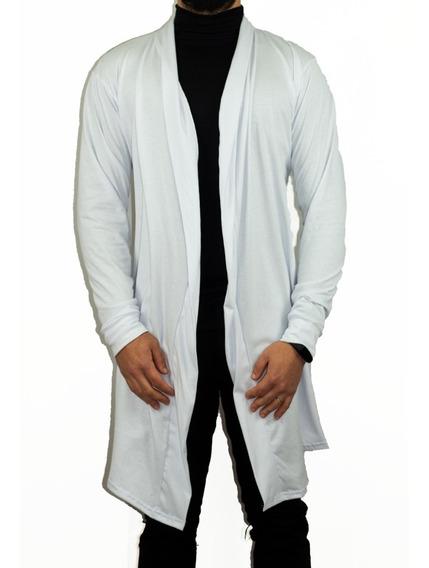 Blusa De Frio Cardigan Masculino Sobretudo Branco Em Malha