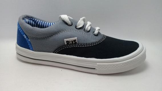 Zapatillas Náuticas Bajas Prowess T 32 Azul Negra Gris Lona