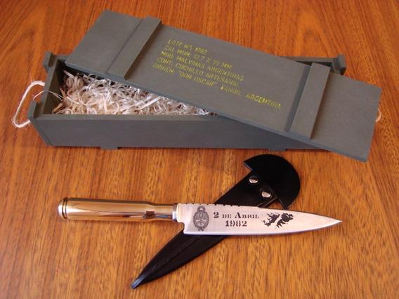 Cuchillo Artesanal, 12,7 Mm. Malvinas. En Caja.