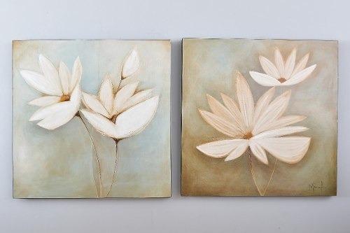 Imagen 1 de 3 de Cuadro Decorativo 1 Pieza Diptico Flores Blancas Këssa Muebl